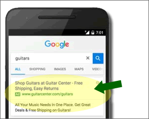 Extended Text Ads on Google Mobile Device