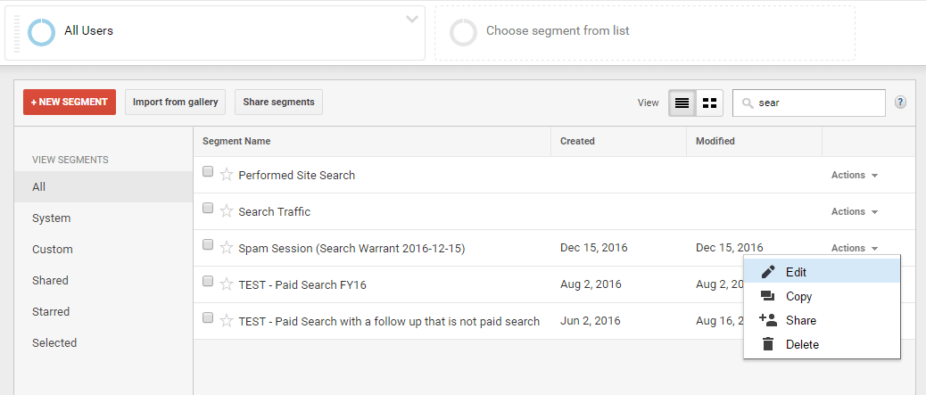 choose 'edit' on the imported segment