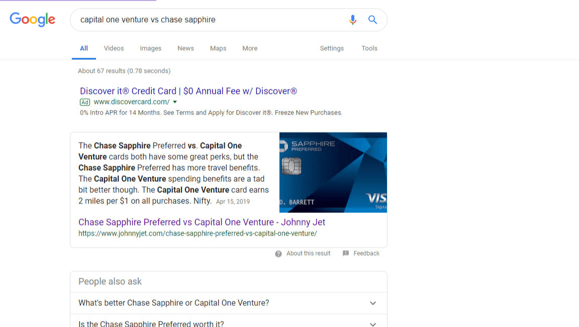 example of a featured snippet in a Google search result