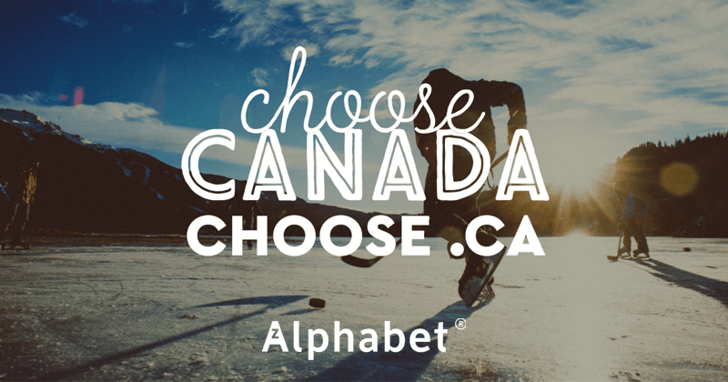 """Man playing hockey on outdoor rink with the words """"Choose Canada Chose .CA"""" overtop"""