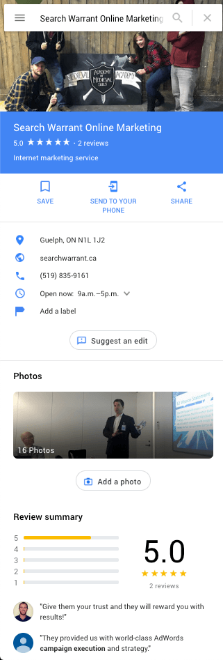 Search Warrant Google My Business Profile on Google Maps
