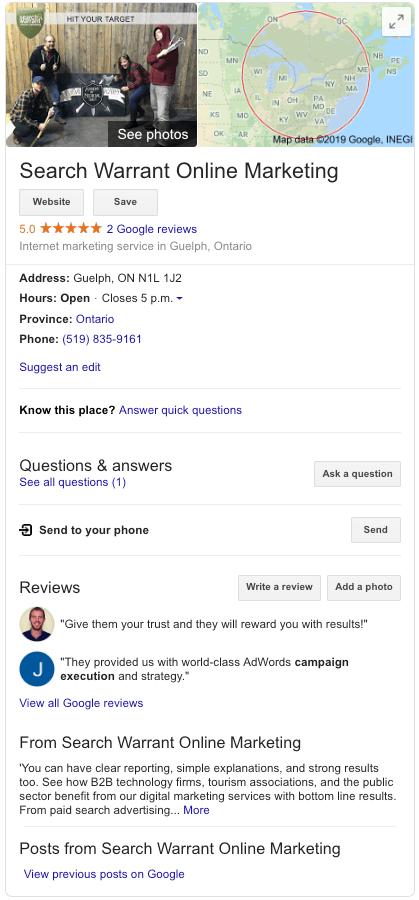 Search Warrant Google My Business Profile