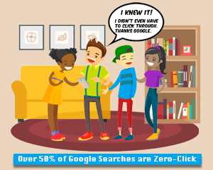 Cartoon of a group of teens searching Google on a cell phone