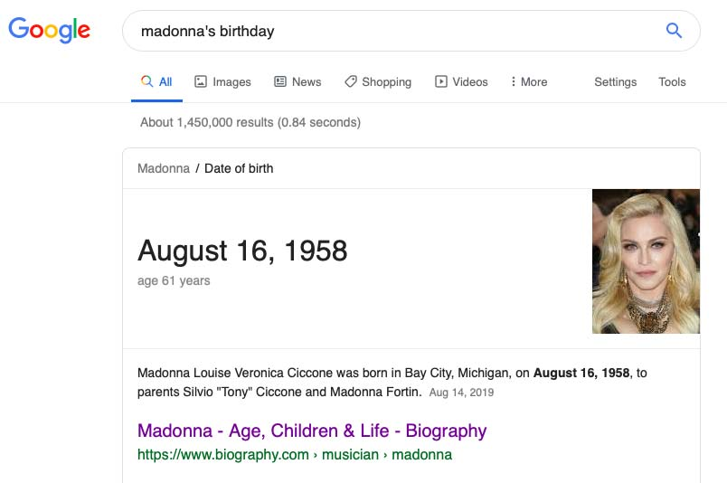 google search result showing the year Madonna was born