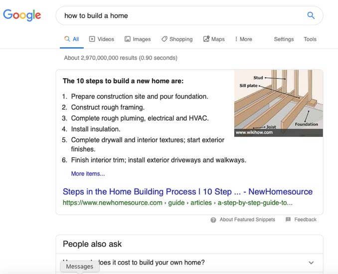 Google search result for how to build a home