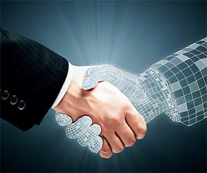 handshake between real and virtual hand