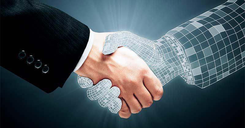 handshake between real and virtual hand