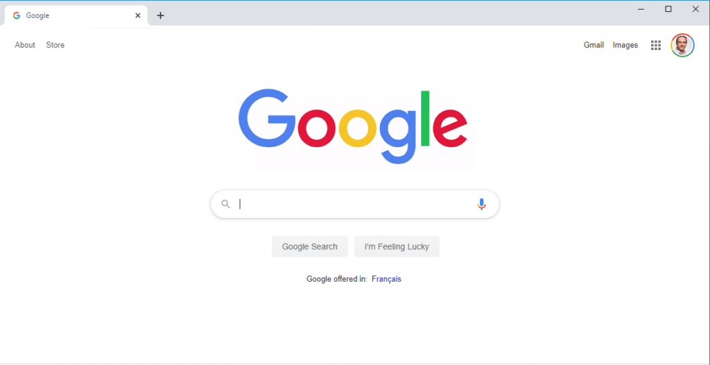 screenshot of the google search home page