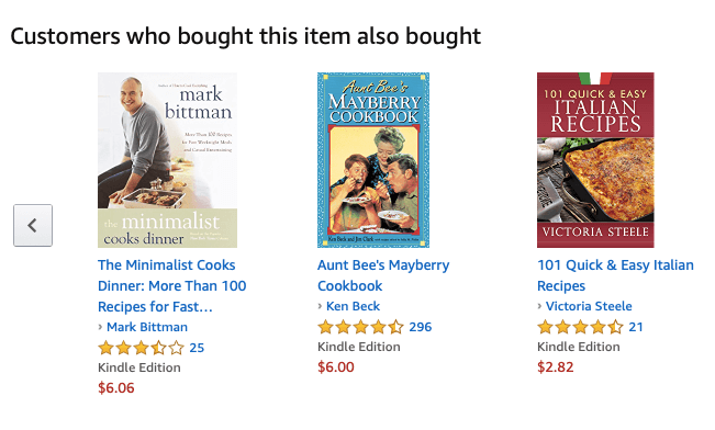 a related items list from Amazon of books that customers also bought if they bought a certain book