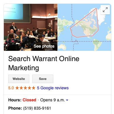 Google MyBusiness card for Search Warrant Online Marketing showing a 5 star review and other business information