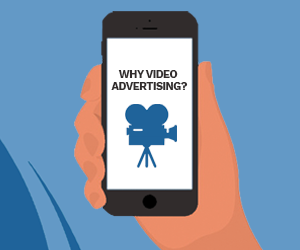 "a graphic image of a hand holding a mobile phone asking ""why video advertising""?"