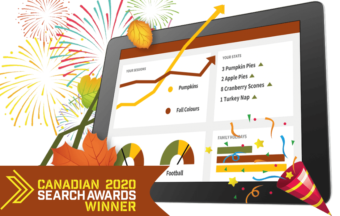 ipad with charts graphic surrounded by fireworks and party popper with canadian search awards logo