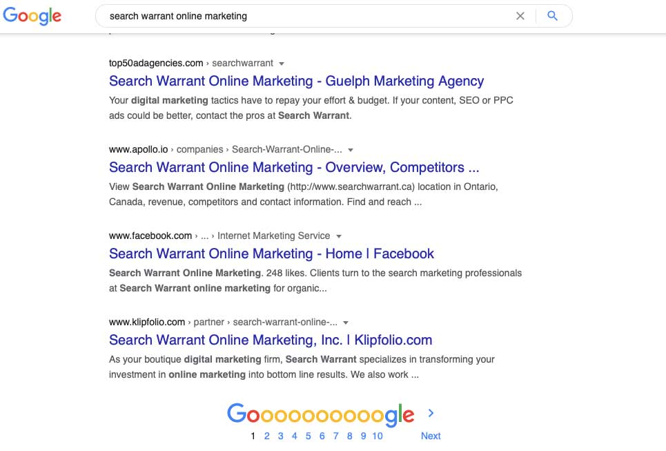 search warrant online marketing google search results screenshot
