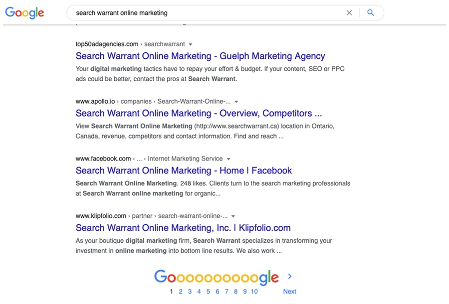 search warrant online marketing google search results screenshot