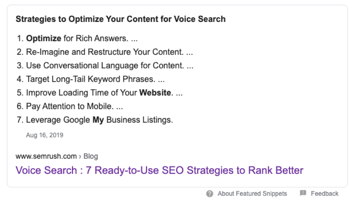"""Google Featured Snippet for """"Strategies to Optimize Your Content for Voice Search"""""""