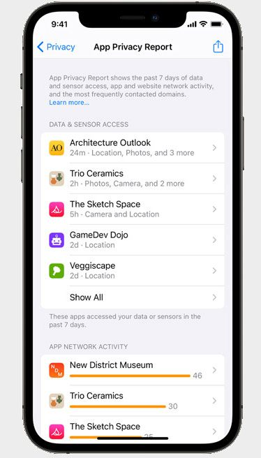 iPhone displaying App Privacy Report Settings